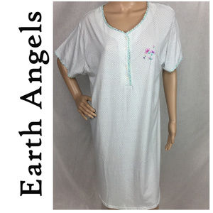 Aqua Prnt Earth Angels Soft Knit Sleep Nightgown L